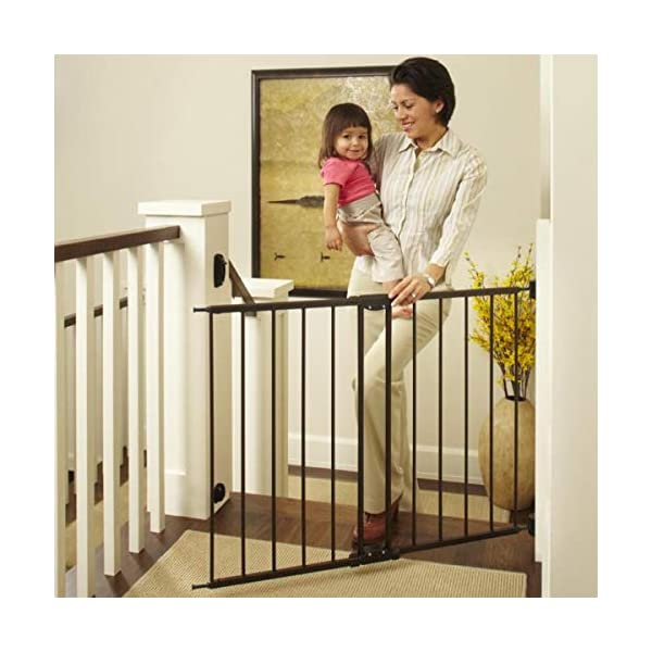 North States 47.85″ Easy Swing & Lock Baby Gate: Ideal for Standard or Wider stairways, Swings to self-Lock. Hardware Mount (mounts Included). Fits 28.68″-47.85″ Wide (31″ Tall, Bronze)