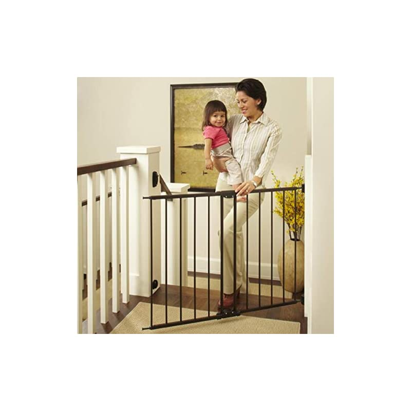 """dog supplies online north states 47.85"""" easy swing & lock baby gate: ideal for standard or wider stairways, swings to self-lock. hardware mount (mounts included). fits 28.68""""-47.85"""" wide (31"""" tall, bronze)"""