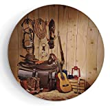 iPrint 6'' Western Decor Round American Texas Style Country Music Guitar Cowboy Boots USA Folk Culture