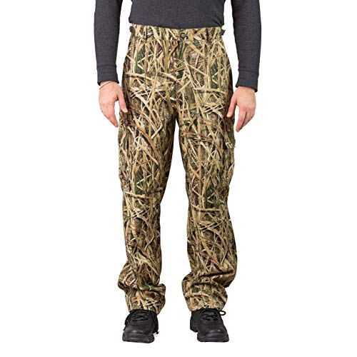 TrailCrest Men's Camo Hunting Cargo Pants   6 Pockets   Mossy Oak Shadow Grass Blades