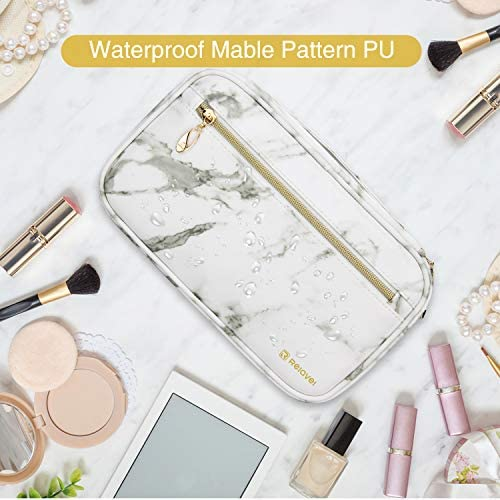 Professional Cosmetic Case Makeup Brush Organizer Makeup Artist Case with Belt Strap Holder Multi functional Cosmetic Bag Makeup Handbag for Travel & Home Gift (B Marble)