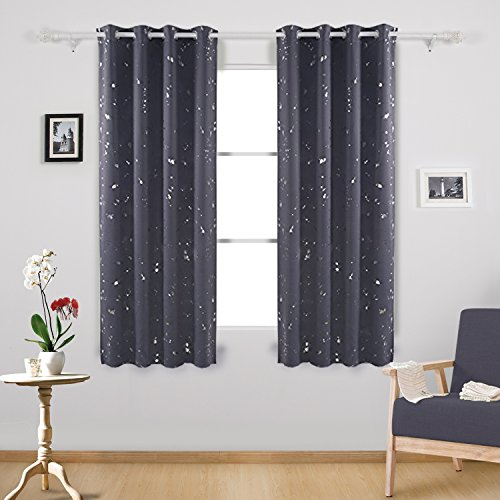 - Deconovo Silver Dots Printed Thermal Insulated Blackout Window Curtains Light Blocking Curtains for Kids Room 52 W x 63 L Dark Gray 2 Panels