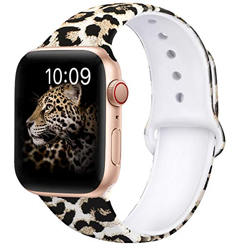 OriBear Compatible with Apple Watch Band 40mm 38mm 44mm 42mm Elegant Floral Bands for Women Soft Silicone Solid Pattern Printed Replacement Strap Band for Iwatch Series 4/3/2/1