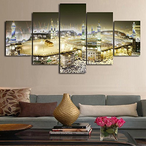 Contemporary Panel (Large Saudi Arabia Printed Painting on Canvas 5 Panel Modern Wall Art Contemporary Artwork Prints Picture for Living Room Giclee Home Decor Gallery-wrapped Wooden Framed Ready to Hang(60''Wx32''H))