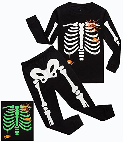 Boys Christmas Pajamas Halloween Skeleton-Glow-in-The-Dark Toddler Pjs Kids Clothes Shirts