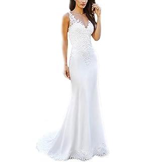 048638452 WeddingDazzle Double V-Neck Appliques Beach Wedding Dress Sexy Backless  Boho Wedding Gowns