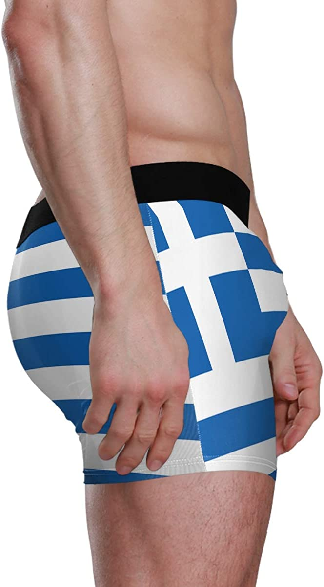 Greek Flag Mens Boxer Briefs Stylish Underwear Shorts Soft Underpants