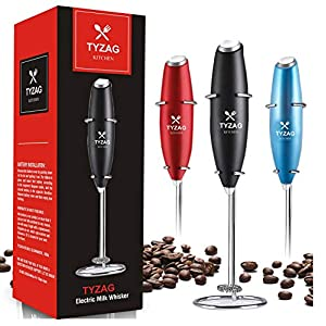 Lxoice Milk Frother Handheld Battery Operated Electric Foam Maker with Stainless Steel Coffee Beater (Black)