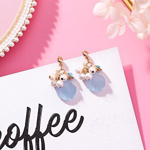 High-Season MENGJIQIAO 2018 New Ocean Series Cute Starfish Acrylic Shell Drop Earrings For Women Simulated Pearl Fashion Sweet Brincos Gift (Blue)