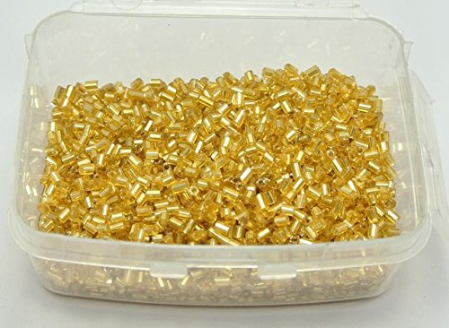 - Champagne 5000 Glass Tube Bugle Seed Beads 2X2mm Silver-Lined + Storage Box