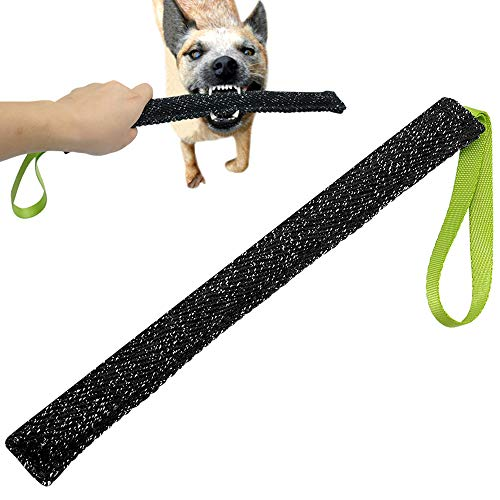 Tug Handle Hose Fire (PET ARTIST Tubular Tug Toy for Dogs Puppy Training Biting Pulling, Great Reward Pocket Tug Toy for Agility, Black 13.5''Length)