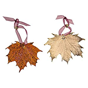 Leaf Ornaments, Maple Set - Iridescent and Gold Plated. Sugar and/or Full Moon 13