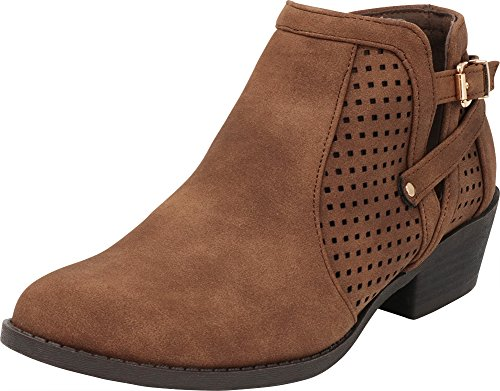Cambridge Select Women's Round Toe Laser Cutout Perforated Chunky Stacked Low Heel Ankle Bootie Brown Pu
