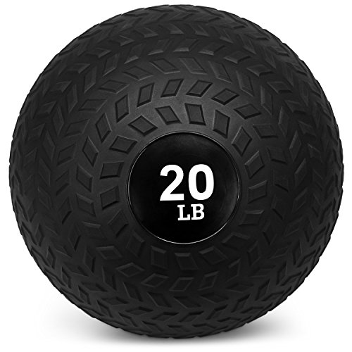 Yes4ll 20 lbs Slam Ball for Strength and Crossfit Workout – Slam Medicine Ball (20 lbs, Black)