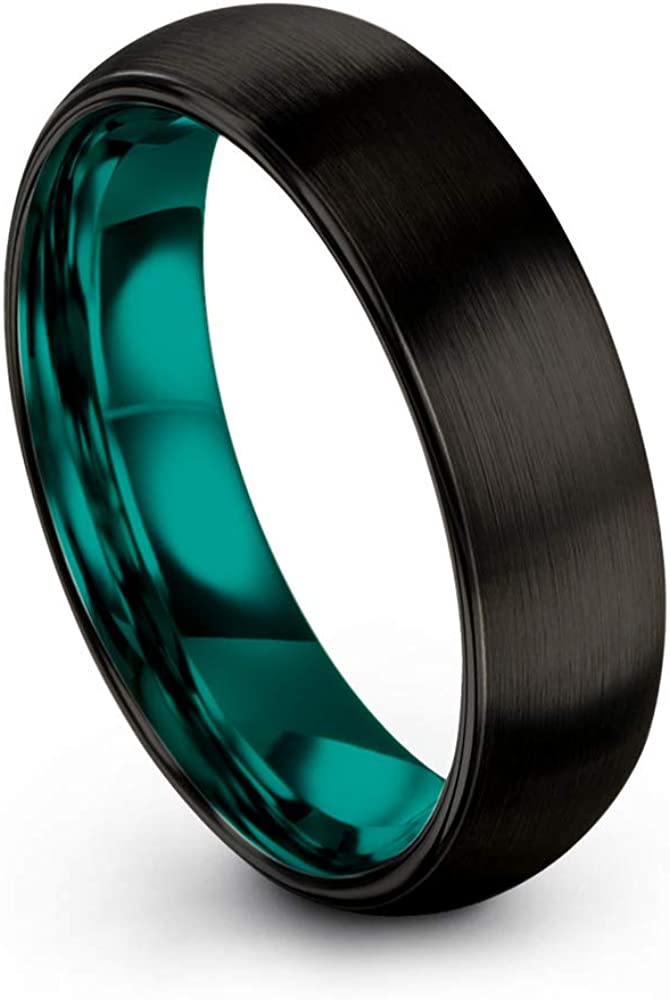 Chroma Color Collection Tungsten Carbide Wedding Band Ring 6mm for Men Women Green Red Blue Purple Black Copper Fuchsia Teal Interior with Dome Brushed Polished
