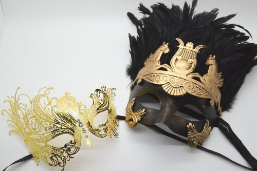 Roman Greek God and Extravagant Goddess Set - His & Hers Masquerade Masks [Antique Gold Themed] - New Year's Eve, Mardi Gras Theater -