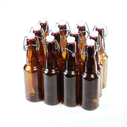 Bierflessen met beugelsluiting, bruin glas, 12 stuks