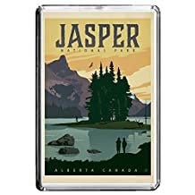 B154 JASPER PARK FRIDGE MAGNET CANADA VINTAGE TRAVEL PHOTO REFRIGERATOR MAGNET