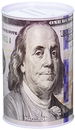 Chadamyi 100 Dollar Bill Tin Money Bank Note Metal Money Box 100$ Bill Dollar Moneybox, 5 7/8' Tall X 4' Metal Money Coin Bank, $100, Benjamin Franklin Coin (Franklin Flash)