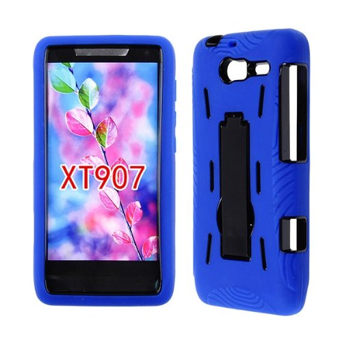 Motorola Droid RAZR M, Luge, XT9007 Heavy Duty Case Bumper Soft Skin Hard Cover Defender with Kickstand Rugged Cell-Tronics TM Blue Black