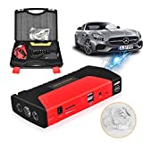 DryMartine Portable Car Jump Starter, 800A Peak 16800mAh Emergency Battery Booster Pack with Three-head USB Charging Outputs,Car Charger,Car Jump Leads(Red, UK Plug)