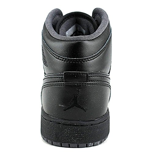 Nike Youths Air Jordan 1 MID Black Leather Trainers 39 EU