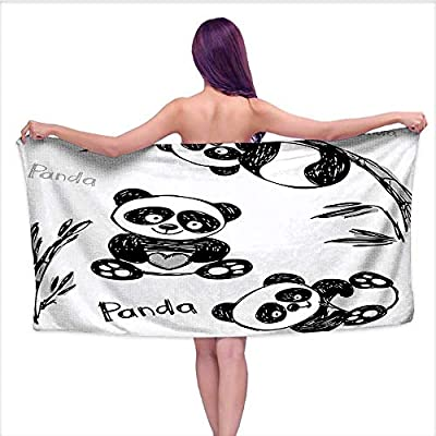 Leigh home Bath Towel? Panda Different Pos Branch Children Pa Green Black White,Good Ideal for The Kid's Bathroom, a Guest Bathroom