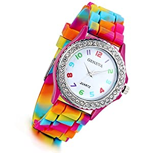 Women's Quartz Watch Rhinestone Rainbow Color Silicon Jelly Fun Play Colorful Casual Dress Wrist Watches