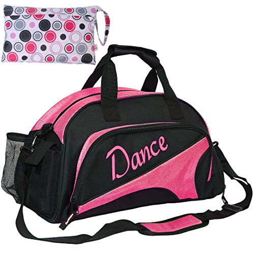 kilofly Girl's Ballet Dance Sports Gym Duffel Bag Travel Carry On + Handy Pouch (Ballet Bags For Teens)