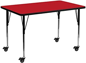 Flash Furniture Mobile 24''W x 48''L Rectangular Red HP Laminate Activity Table - Standard Height Adjustable Legs