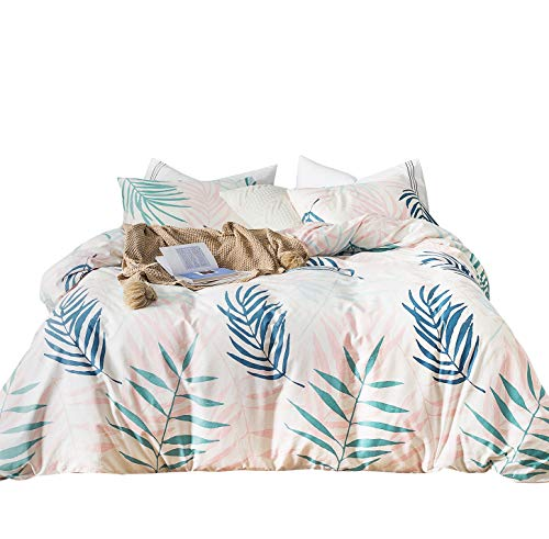 Art Deco Floral Print - SUSYBAO 3 Pieces Duvet Cover Set 100% Natural Cotton Queen Size Pink and Blue Palm Tree Leaves Tropical Plants Bedding with Zipper Ties 1 Duvet Cover 2 Pillowcases Luxury Quality Soft Breathable