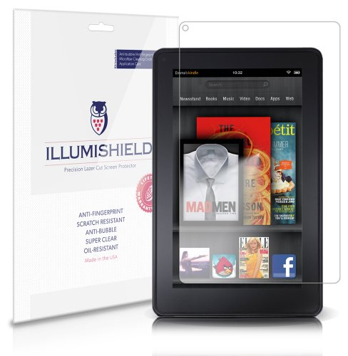iLLumiShield Screen Protector Compatible with Amazon Kindle Fire 7 inch (1st Gen)(3-Pack) Clear HD Shield Anti-Bubble and Anti-Fingerprint PET Film