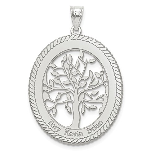 (Jewelry Pendants & Charms Personalized 10kw Laser Polished Family Tree Oval Pendant)