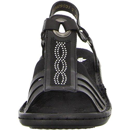 Rieker, 60808-01, sandali donna, Nero/Nero/Nero