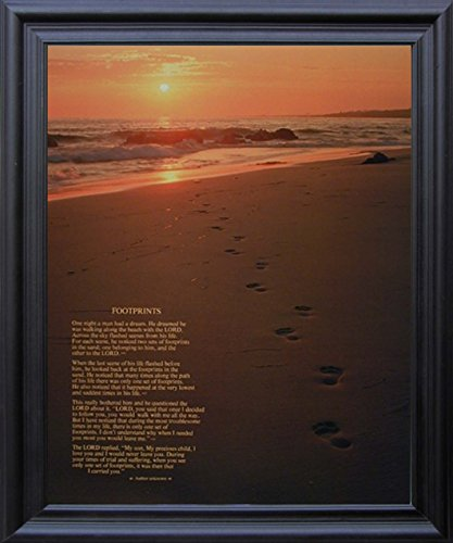 Footprints Poster in the Sand Motivational Black Framed Wall Decor Picture Art Print