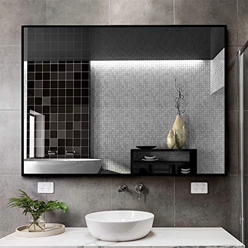 Kingmond Large Modern and Simple Bathroom Wall-Mounted Black Framed Mirror Horizontal or -
