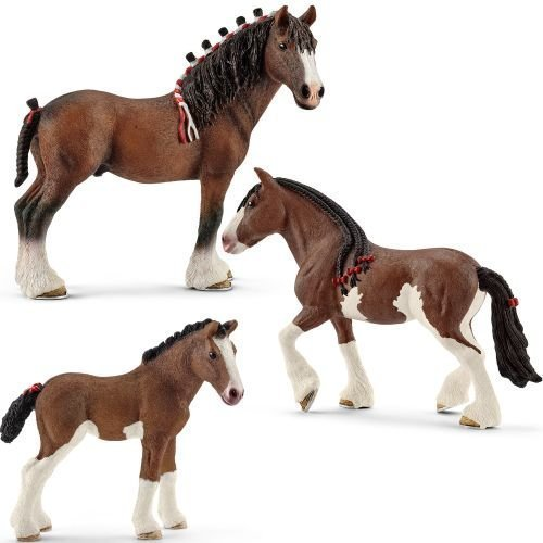 Schleich Horses Playset Clydesdale Gelding Mare Foal 3 Figures by Schleich ()