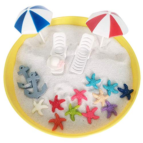 FUNSHOWCASE Plastic Summer Beach Chairs with Umbrellas Aquarium Terrariums Miniature Garden Fairy Gardens Doll House Cake Topper Resin Decoration -