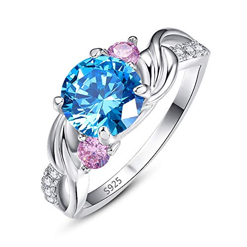 - Mavonne Sterling Silver Swirl Blue Topaz Crossover Bypass Round Solitaire Cubic Zirconia Two-Stone Engagement Promise Rings for Women Size 6-9