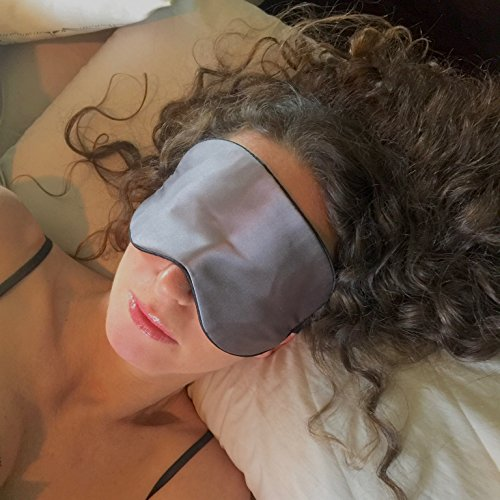 Anti Aging Sleep Mask with Copper Ion Technology by Sleep Fountain | Rejuvenates Skin, Reduces Eye Puffiness | Super Soft Copper Eye Mask with Unique Blindfold Design in Mulberry Silk | Luxury Case &