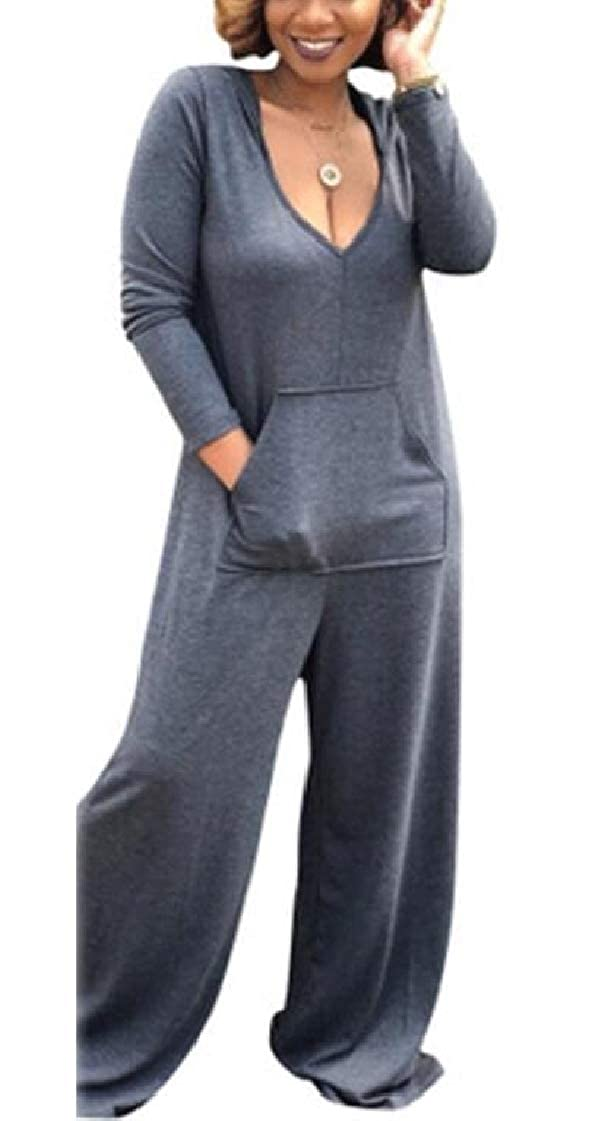 pipigo Womens Loose Fit Deep V Neck Hoodie Wide Leg Jumpsuit Romper with Pockets