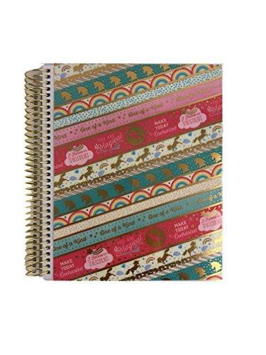 Recollections Creative Year 2018 Planner 12 Month Calendar Spiral Book 7.5 x 9.25 (Unicorns & Rainbows)