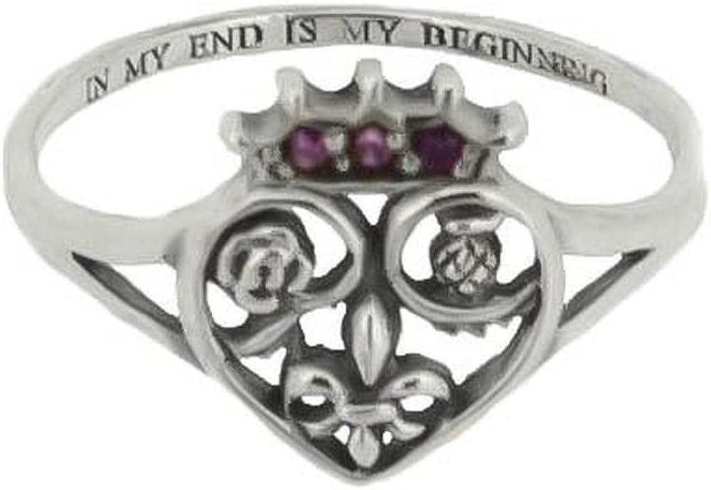 Plata de Ley tradicional Escocia Royalty Mary Queen of escoceses Love con forma de corazón anillo con piedra de color Amatista