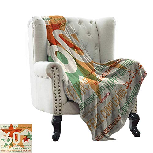 (LsWOW King Size Blanket 60th Birthday,World Cities Birthday Party Theme with Abstract Stars Print,Green Vermilion and White Blanket for Sofa Couch TV Bed All Season)