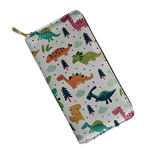SANNOVO White Clutch Purses for Women Animal Dinosaur Printing Ladies Wallet Leather Pouch with Zipper ()