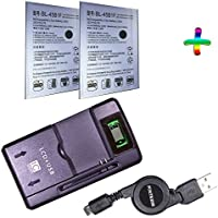 2 LG Stylo2 Stylo II LS775 LS 775 Replacement Battery Plus Universal Battery Charger and Compact Retractable MicroUSB Data/Charging Cable By Fortress (EverPower Pack)