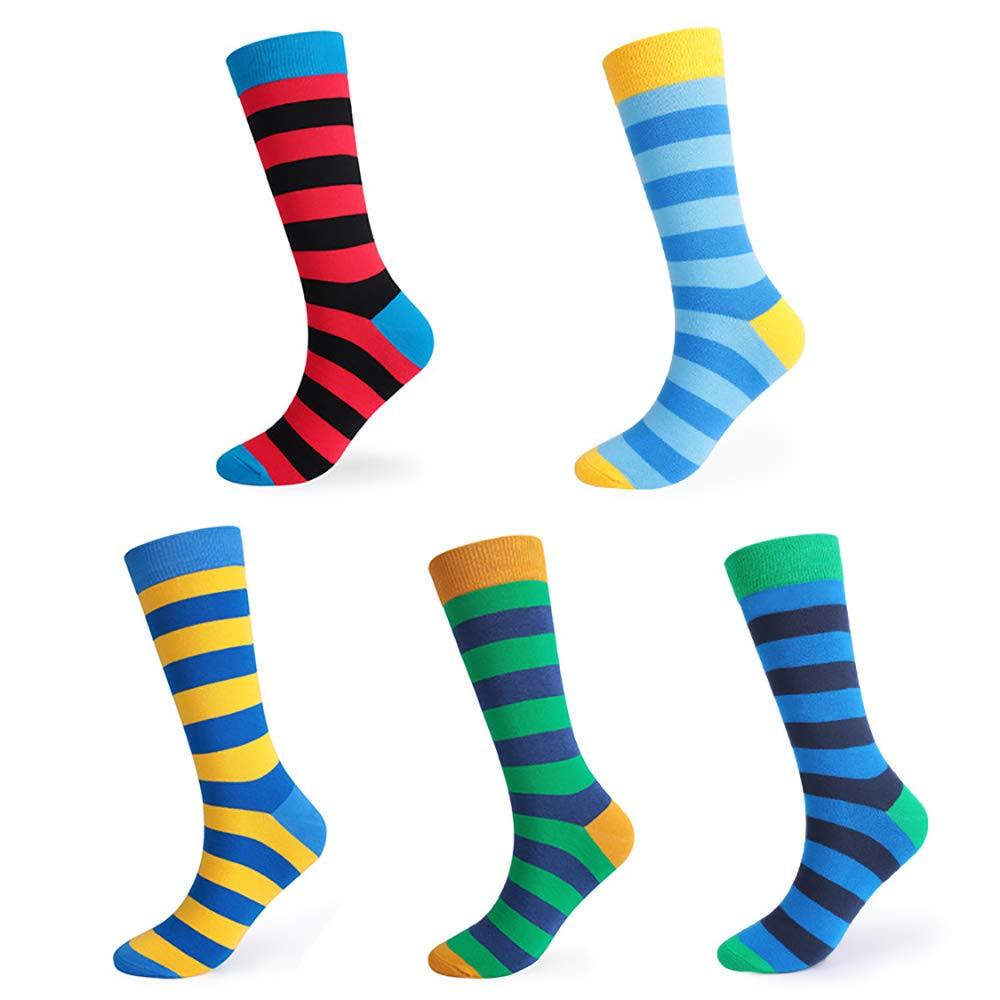 ZhangHongJ,5 paires de chaussettes mi-mollet en coton désodorisant à rayures hautes(color:Mixte,size:39-43 verges)