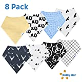KiddyStar Bandana Baby Bibs for Boys and Girls, 8-Pack Drool Bib Set, 100% Organic Cotton, Soft and Absorbent, Newborn and Baby Shower Gift for Drooling and Teething