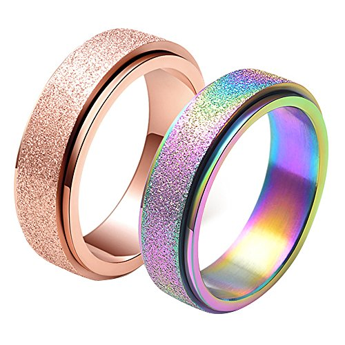 Set of 2, Unisex's 6mm Stainless Steel Spinner Ring Matte Sand Blast Finish Size 8