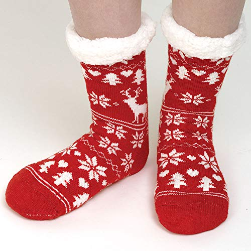 Bits and Pieces - Red Nordic Slipper Socks - Warm Fuzzy Feet - Skid Resistant Soles with Fleece Lining ()